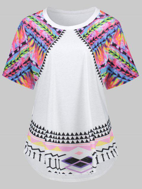 Colored Plus Size Tribal Graphic Tee - WHITE 4XL