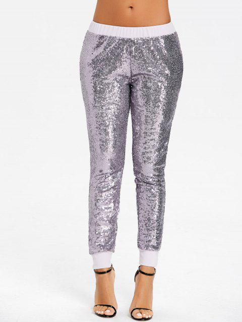 Sequins Glitter Joggers - SILVER M