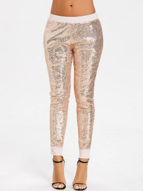 Pantalon de Jogger à Paillettes Brillantes - Or M