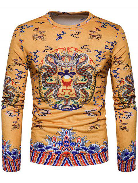 Long Sleeve Chinese Style Dragons Print T-shirt - YELLOW L