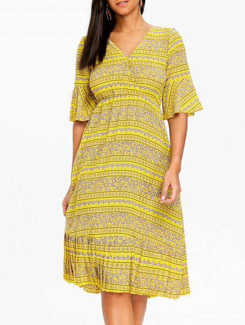 Bohemian Bell Sleeve Floral Midi Dress - YELLOW 2XL