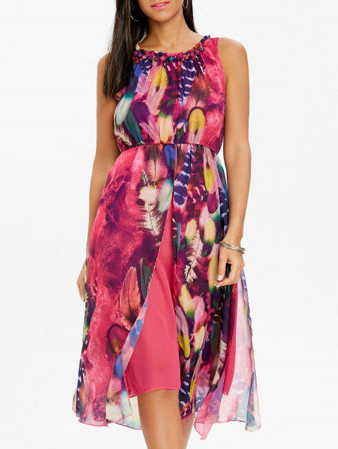 Printed Chiffon Midi Dress - TUTTI FRUTTI 2XL
