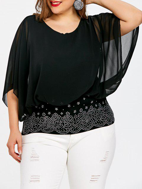 Plus Size Batwing Sleeve Rhinestone Embellished Blouse - BLACK 4XL