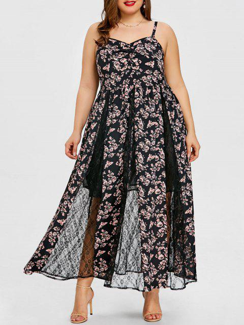 Plus Size Floral Lace Insert Maxi Dress - BLACK 3XL