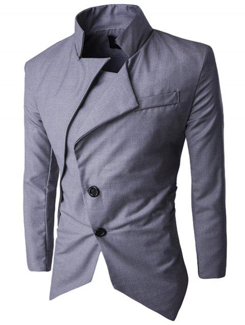 Asymmetric Single Breasted Blazer - LIGHT GRAY XL