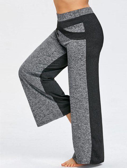 Color Block Plus Size Wide Legged Pants - GRAY 5XL