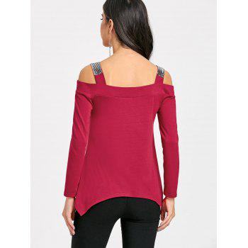 Long Sleeve Sequins Cold Shoulder T-shirt - RED RED