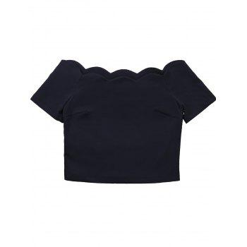 Short Sleeve Scalloped Collar Crop Top - BLACK BLACK