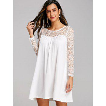 Long Sleeve Lace Panel Mini Shift Dress - WHITE S