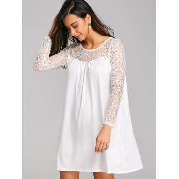 Long Sleeve Lace Panel Mini Shift Dress - WHITE M
