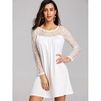 Long Sleeve Lace Panel Mini Shift Dress - WHITE L