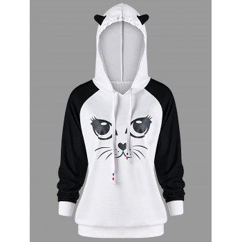 Cat Graphic Raglan Sleeve Hoodie - WHITE AND BLACK WHITE/BLACK