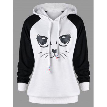 Cat Graphic Raglan Sleeve Hoodie - WHITE/BLACK WHITE/BLACK