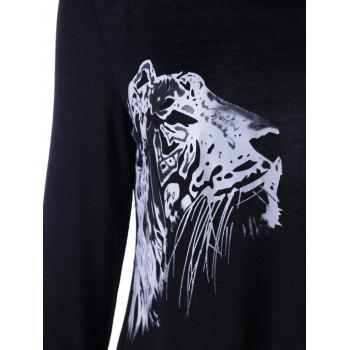 Lion Head Printed Long Sleeve T-shirt - BLACK M