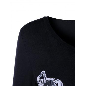 Lion Head Printed Long Sleeve T-shirt - BLACK XL