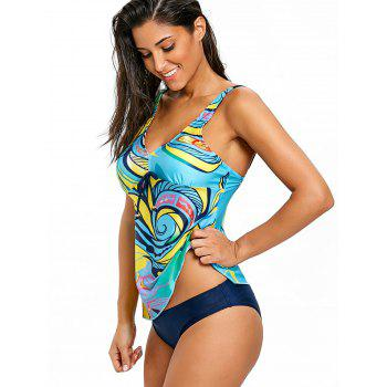 Empire Waist V Neck Tankini Set - COLORMIX M
