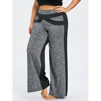 Color Block Plus Size Wide Legged Pants - GRAY 3XL