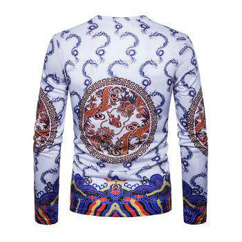 Dragons Geometric Print Chinese Style T-shirt - WHITE WHITE