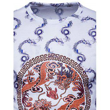 Dragons Geometric Print Chinese Style T-shirt - WHITE L