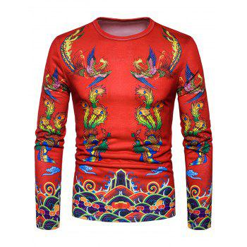 Phoenix Chinese Style Print T-shirt - RED RED