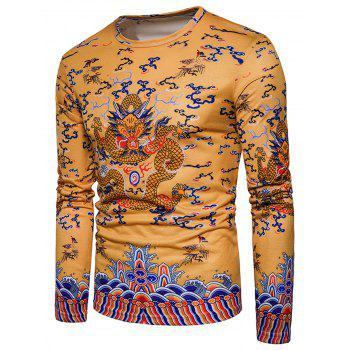 Chinese Style Long Sleeve Dragon Print T-shirt - YELLOW XL