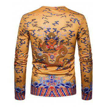 Chinese Style Long Sleeve Dragon Print T-shirt - YELLOW 2XL