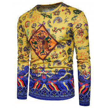 Long Sleeve Chinoiserie Dragon Print T-shirt - YELLOW M