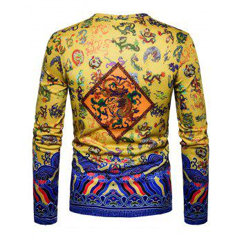 Long Sleeve Chinoiserie Dragon Print T-shirt - YELLOW 2XL