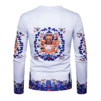 Crew Neck Dragon Print T-shirt - WHITE WHITE