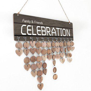 Family Friends Celebration Home Decor DIY Wooden Calendar Reminder Board - WOOD