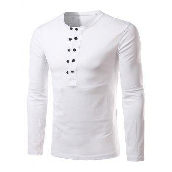 Long Sleeve Half Buttons T-shirt - WHITE WHITE