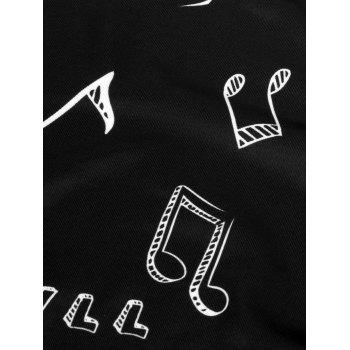 Music Notes Skew Neck Sweatshirt - BLACK M