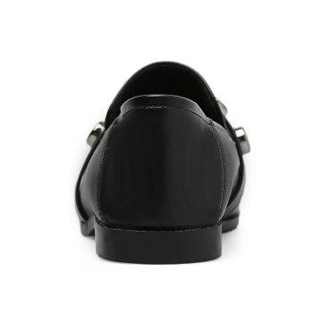 High-polish Metal Studs Loafers - BLACK 39