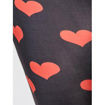Heart Pattern Plus Size Leggings - RED RED
