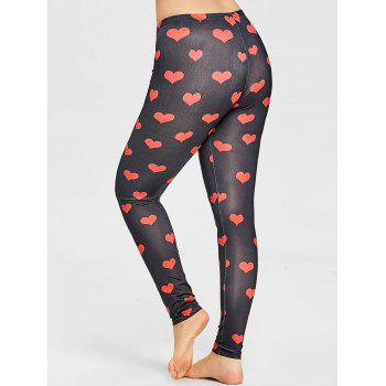 Heart Pattern Plus Size Leggings - RED 3XL