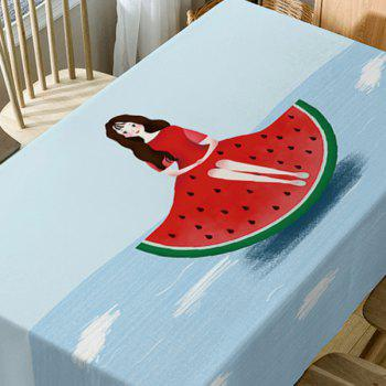 Watermelon Girl Print Waterproof Table Cloth - COLORMIX W54 INCH * L72 INCH