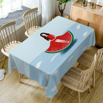 Watermelon Girl Print Waterproof Table Cloth - COLORMIX COLORMIX