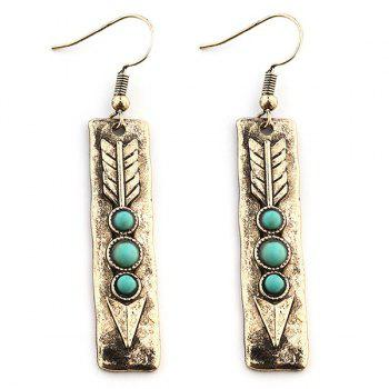 Arrow Shape with Nature Stone Inlay Drop Earrings - GOLDEN GOLDEN
