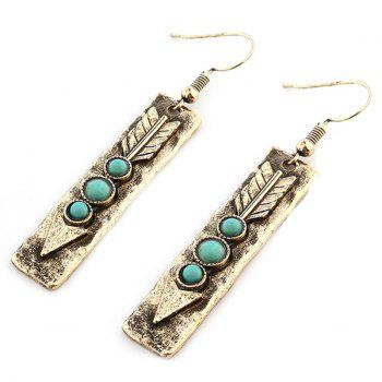 Arrow Shape with Nature Stone Inlay Drop Earrings -  GOLDEN