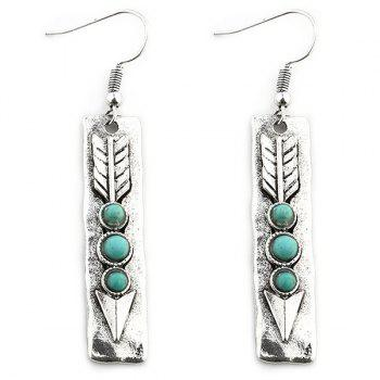 Arrow Shape with Nature Stone Inlay Drop Earrings - SILVER SILVER