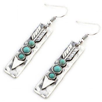Arrow Shape with Nature Stone Inlay Drop Earrings -  SILVER