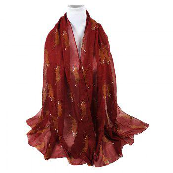 Cute Jumping Fox Pattern Silky Long Scarf - WINE RED