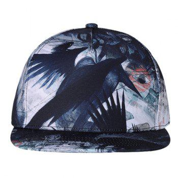 Unique Crow Pattern Flat Brim Decorated Baseball Cap -  WHITE/BLACK
