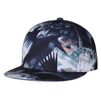 Unique Crow Pattern Flat Brim Decorated Baseball Cap - WHITE AND BLACK WHITE/BLACK