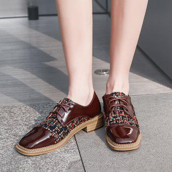 Color Block Square Toe Casual Shoes - BROWN 39