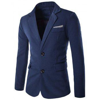 Swallow Gird Single Breasted Color Block Blazer - BLUE BLUE