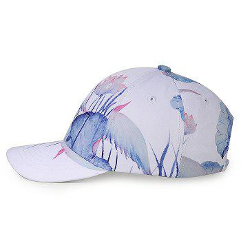 Unique Lotus Pattern Flat Brim Decorated Baseball Cap -  WHITE