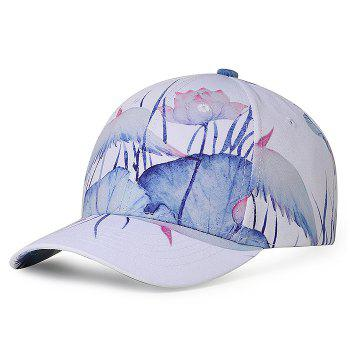 Unique Lotus Pattern Flat Brim Decorated Baseball Cap - WHITE WHITE