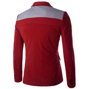 Swallow Gird Single Breasted Color Block Blazer - RED 2XL