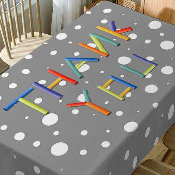 Thank You Print Waterproof Table Cloth - COLORMIX W54 INCH * L72 INCH